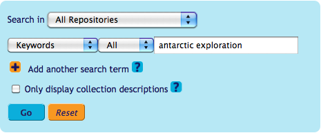 Archives Hub search interface