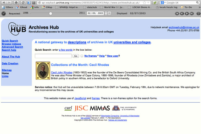 Screen shot of the Archives Hub hompeage