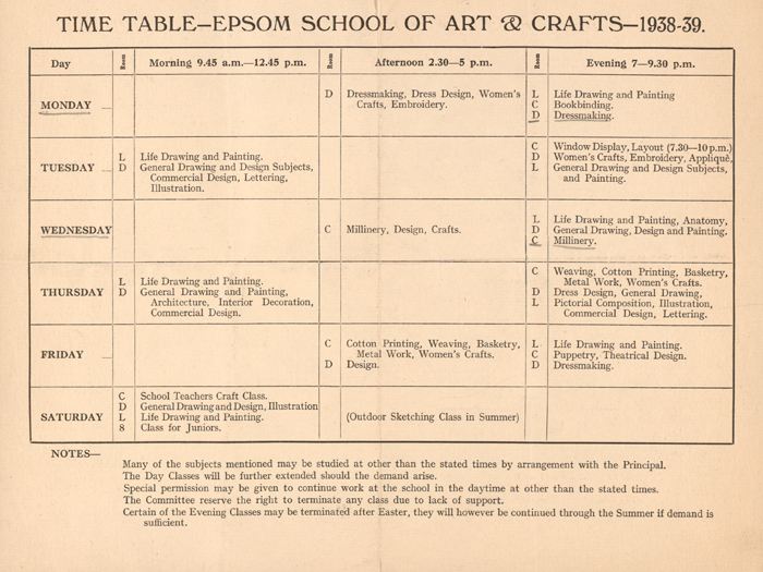 Epsom and Ewell school of art time table 1938-39