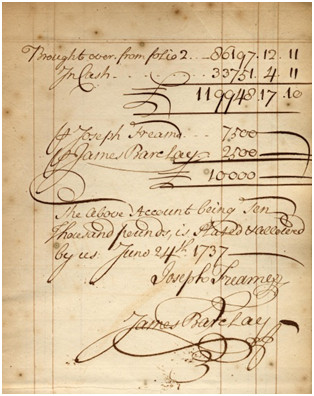 Partners' signatures to the annual balance, 1737