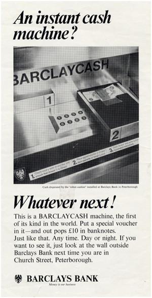 Cash dispenser advert, 1967