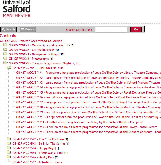 screenshot of table of contents from Salford Archives