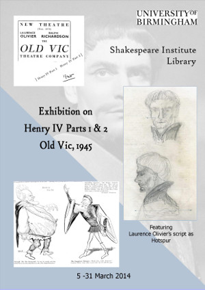 Image of poster for 2014 exhibition: Henry IV, Parts 1 & 2 (Old Vic, 1945)