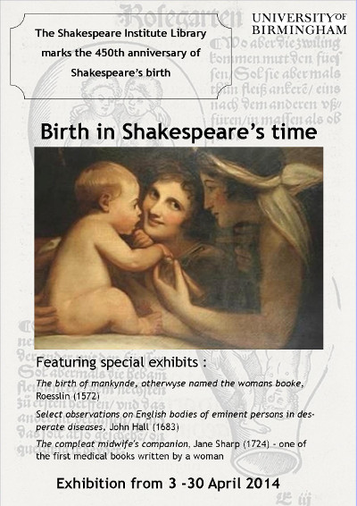 Image of poster for 2014 exhibition: Birth in Shakespeare's time