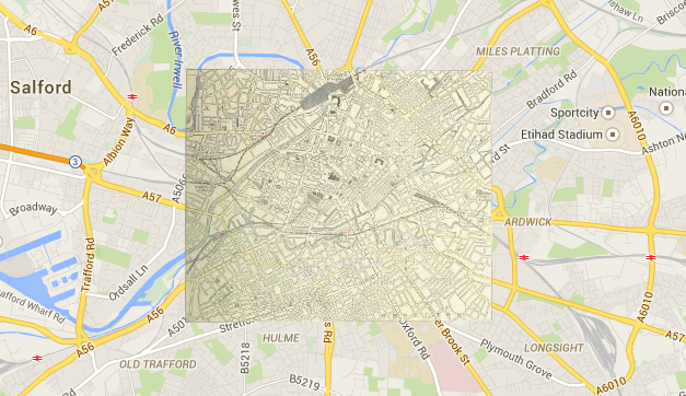BL Georeferencer, showing an old map overlaying part of Manchester: http://www.bl.uk/maps/georeferencingmap.html
