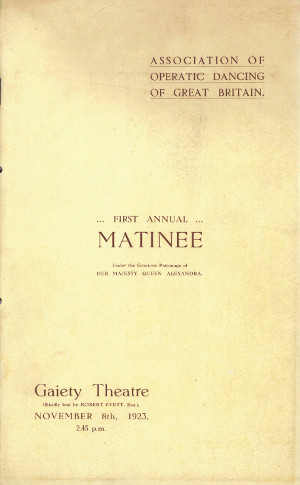 Image of programme for the Association of Operatic Dancing of Great Britain's First Annual Matinée performance, 1923.