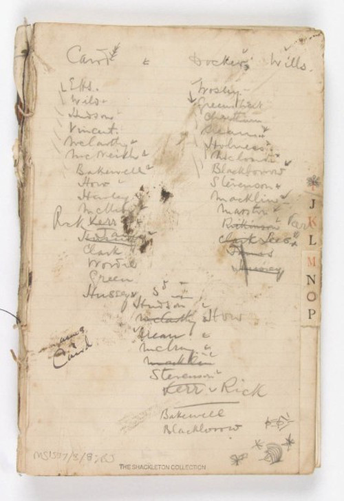 Shackleton's lifeboat crew list. SPRI MS 1537/3/8.