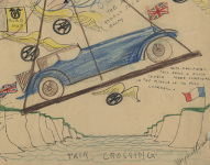 The handsome blue car, by Margaret Bradley. 'With apologies…this being a rough sketch…made somewhere in the middle of no mild channel'. Sketch by Margaret Bradley, copyright the National Motor Museum Trust.