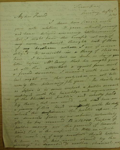 Letter from Joshua Marshman to Thomas Manning, 1810