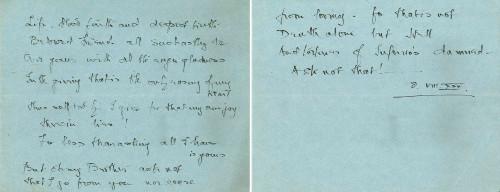 Poem by Sorabji, August 1930.
