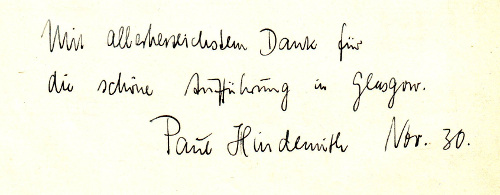 Score autographed by Hindemith, 1930