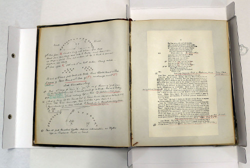 Pages from an Iolanthe prompt book, marked with text corrections and movement diagrams by stage manager J. M. Gordon (1856-1944).