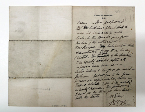 Signed note written in Gilbert's hand concerning the formation of the Gilbert & Sullivan partnership with D'Oyly Carte at the Opera Comique, signed by all three.