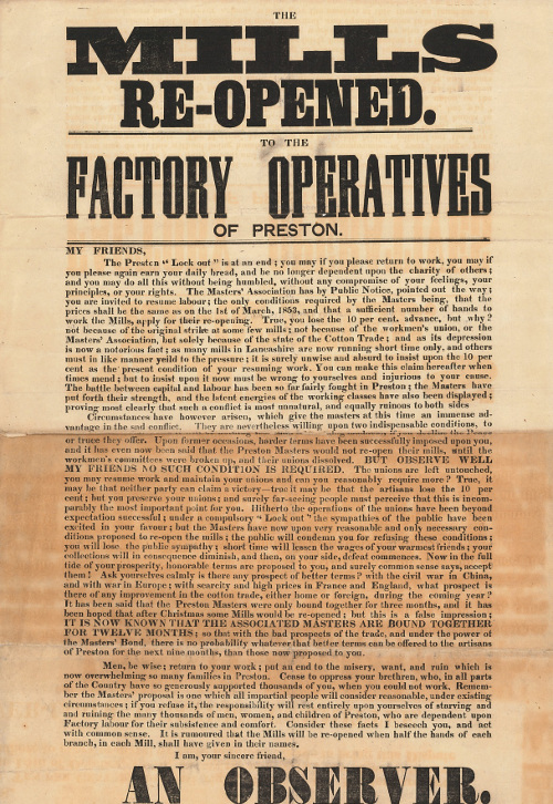 'Mills re-opened' bill poster, 1850s