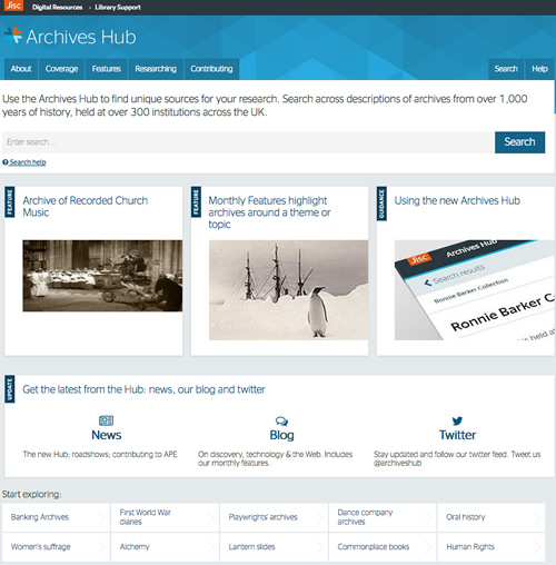 screenshot of archives hub homepage
