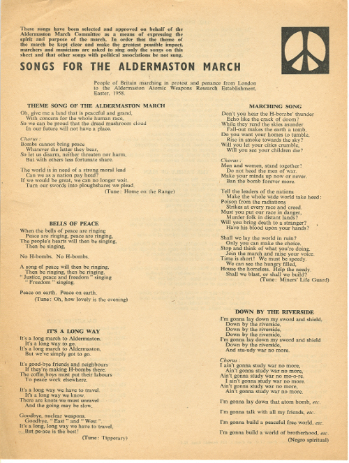Songs for the Aldermaston March 1958