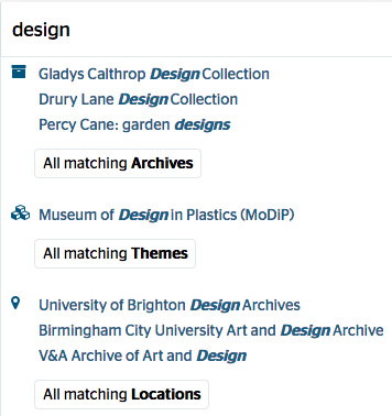 Hub website example of type ahead results