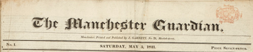 First edition of the Manchester Guardian, 1821.