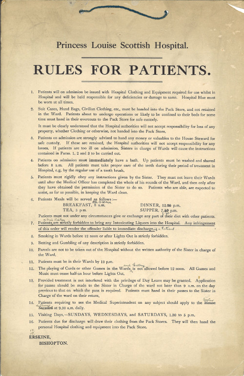 The Princess Louise Scottish Hospital Rules for Patients.