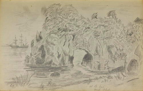 Sketch by William Martin of a cove at Gough Island