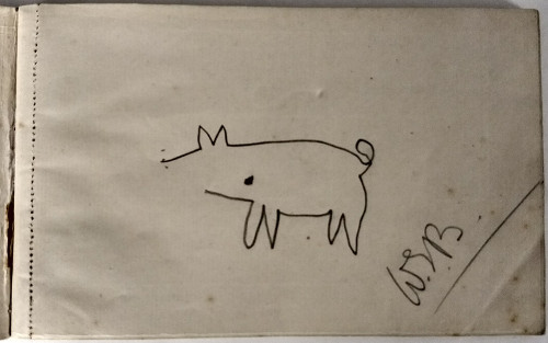William Speirs Bruce's attempt to draw a pig in 'Livre de Cochons'