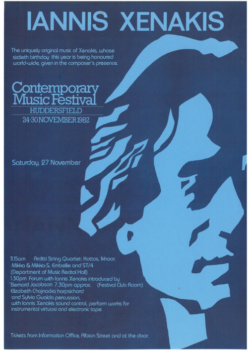 Poster: Iannis Xenakis - Contemporary Music Festival, Huddersfield