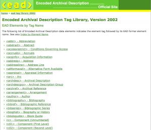 screenshot of EAD Tag Library