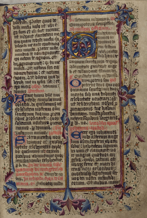 The entry in this missal for the festival of All Saints to whom the church at Woodchurch is dedicated is elaborately illuminated (CCA-U88/B/6/1, folio 52)
