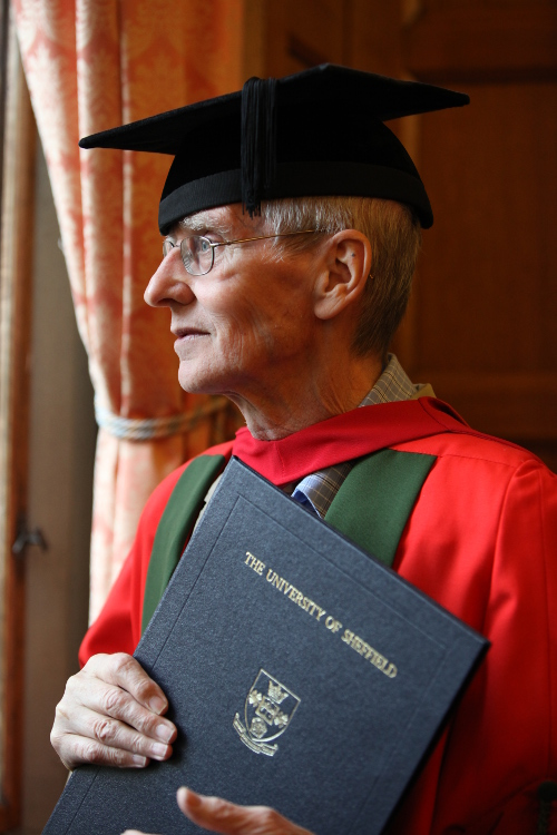 Barry Hines at his honorary degree ceremony, 2010