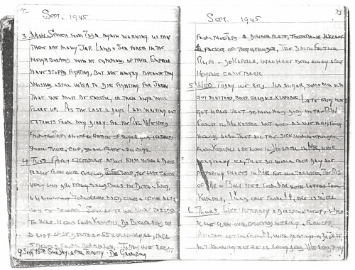 Brigadier Leonard Woodward's diary, 3-6 September 1945