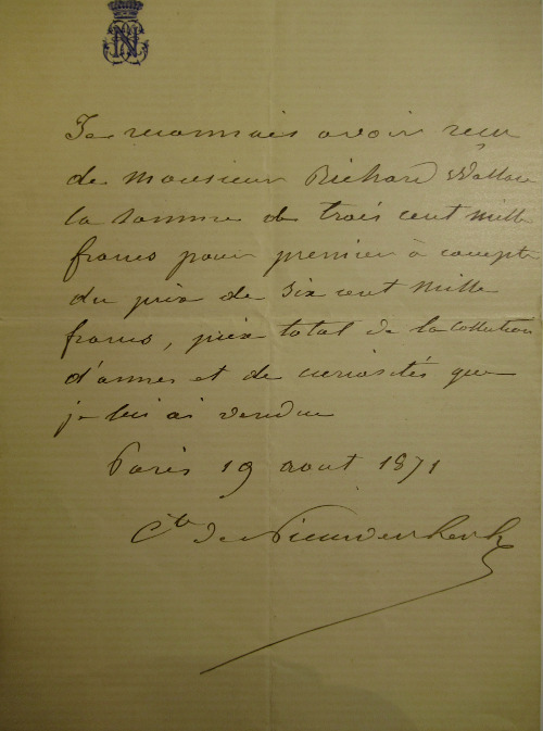 Receipt from the comte de Nieuwerkerke to Wallace for 300,000 francs being half the payment for Wallace's purchase of his collection, 19 August 1871 © The Wallace Collection.