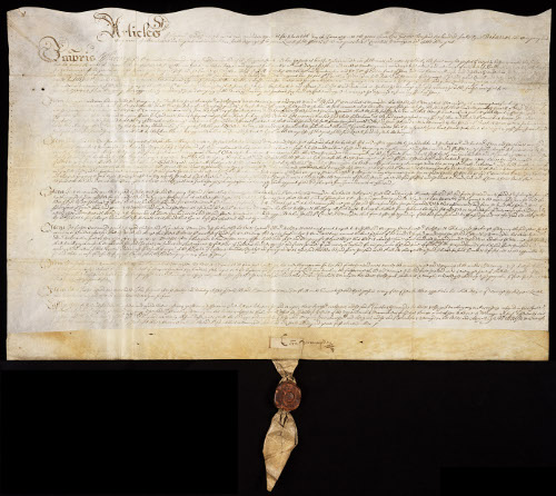 Articles of agreement for the appointment of Cornelius Vermuyden as Director of Works, 1650