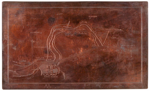 Copper plate etched with a plan of the River Ouse between St Mary Magdalene and King's Lynn, showing the proposed Eau Brink Cut, c. 1818.