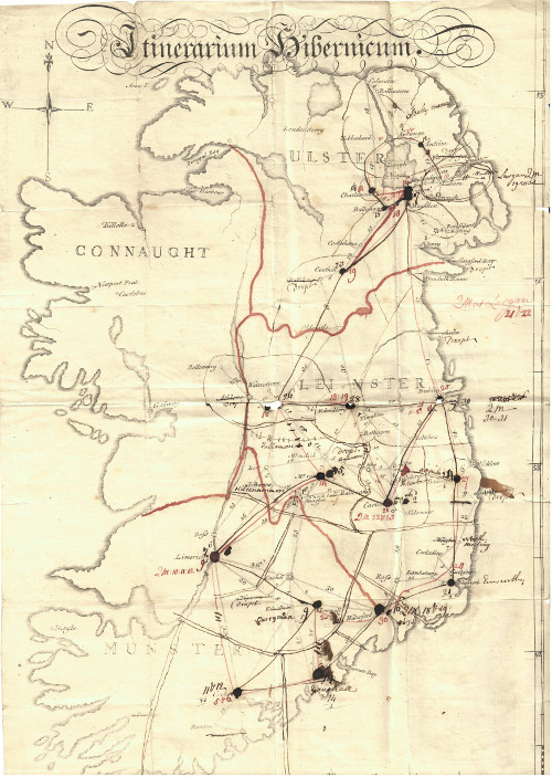 'Itinerarium Hibernicum': map of Ireland annotated to show routes taken on James Backhouse's mission, 1777
