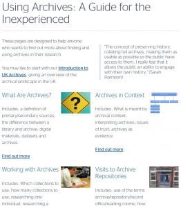 Screenshot of Hub page on using archives