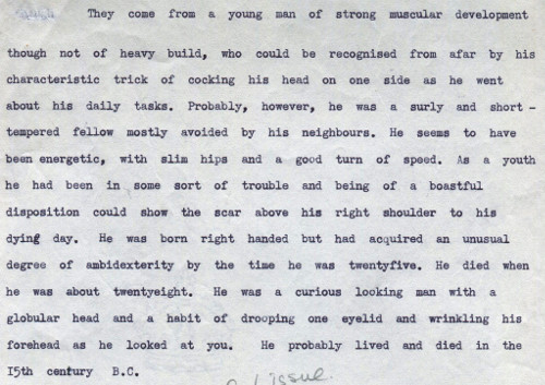 Extract from a skeletal report 'Report on some Bronze Age human remains, Methwold', c.1955.