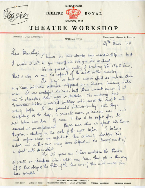 Letter from Joan Littlewood to Vivien Leigh, 1958.