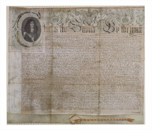 Patent for Theatre Royal Drury Lane, issued by Charles II to Thomas Killigrew, 1662.