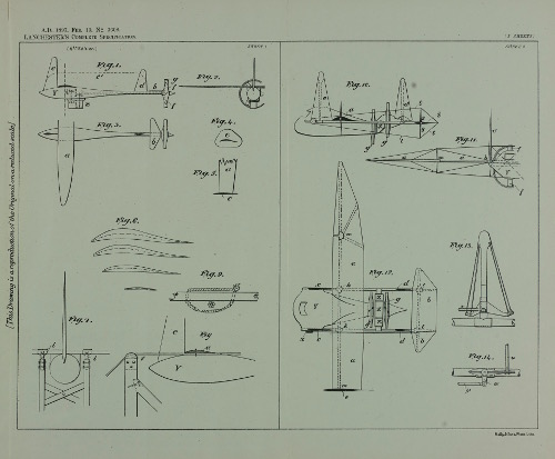Illustration from the Frederick Lanchester patent for improvements in and relating to aerial machines, 1897.