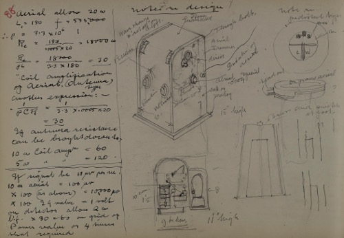 Page from a sketch book showing drawings and notes on radio set design and signal strength, 1929-1936.