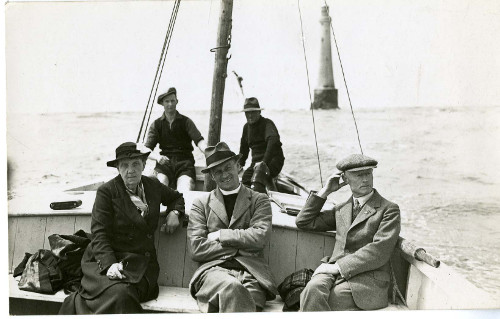 Photograph of a visit paid to Bishop Rock lighthouse by Missions to Seamen representatives for the Scilly Isles [U DMS].