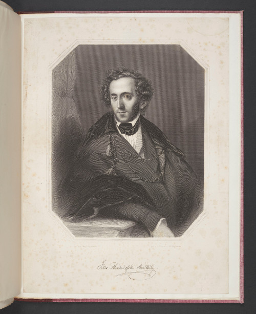 Engraving of Felix Mendelssohn Bartholdy made by A.H. Payne and W.C. Wrankmore, after a portrait by Theodore Hildebrand (c.1835). Leeds University Library, Special Collections, Brotherton Collection, uncatalogued holdings.