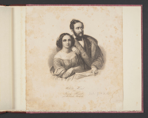 Engraving of Fanny Mendelssohn and her husband Wilhelm Hensel (August Weger and Johann-Paul Singer, 1846). Leeds University Library, Special Collections, Brotherton Collection, uncatalogued holdings.