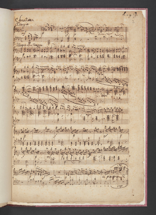 "Autograph manuscript of Mendelssohn's ""Sonata"" in B flat minor, 1823. This is the only source for this early sonata. Leeds University Library, Special Collections, BC MS Mendelssohn/Scores 1."