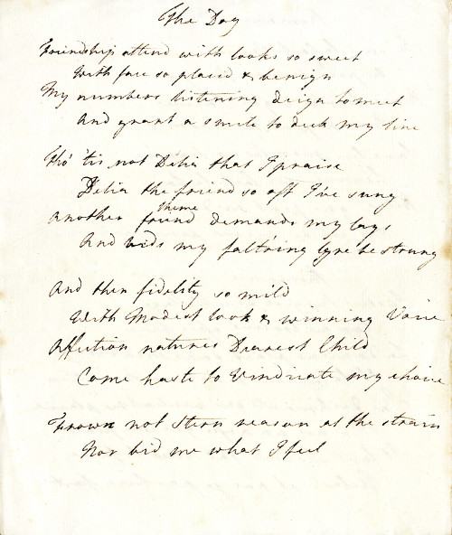'The Dog', a manuscript poem by Georgiana, Duchess of Devonshire.