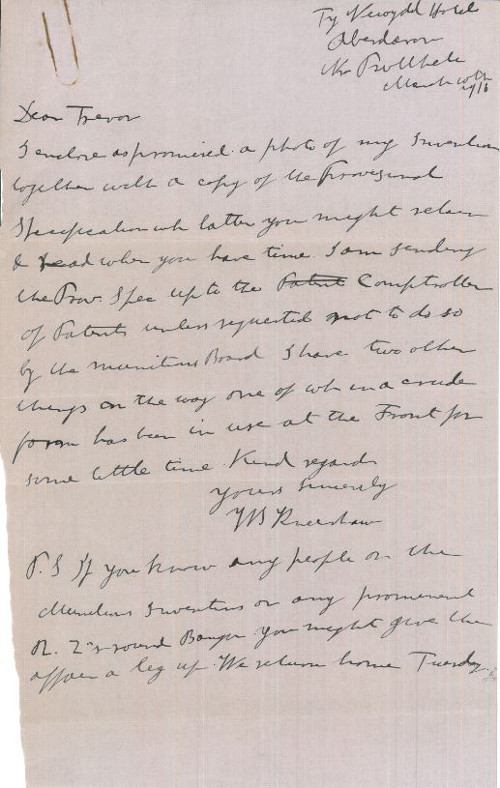 Letter from W.S. Kneeshaw to 'Trevor' [Mr Trevor of Carter Vincent, Solicitors, Bangor] regarding an invention he intends to patent