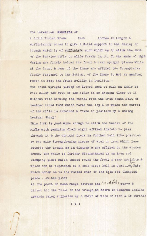Page one of the specification by W.S. Kneeshaw.