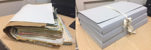 An example of one of 30,000 patient files before and after repackaging.