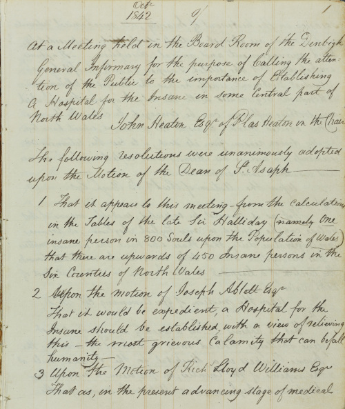 HD/1/81: The minute book of the founders of the hospital, discussing the principles of kind treatment and moral management, dated 1842-1848.