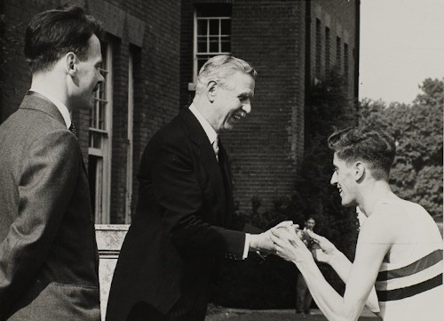 MS 1/7/291/22/4 Peter Holdstock of the Athletics Union presenting the message from the Chancellor of the University of London to the Duke of Wellington, 3 July 1953